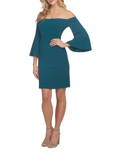 Cynthia Steffe Ashley Off-the-Shoulder Bell Sleeve Dress-GREEN-8