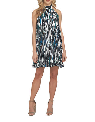 Cynthia Steffe Monte Printed Halter Neck Dress-GREEN MULTI-6
