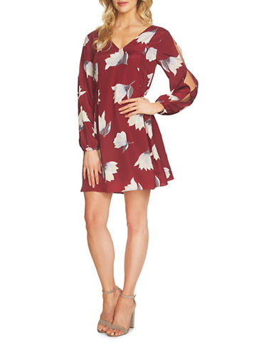 Cynthia Steffe Slit Sleeve Floral-Print Dress-RUBY MULTI-6