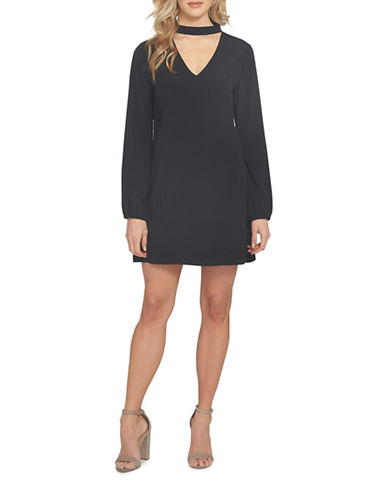 Cynthia Steffe Roxanne V-Neck Shift Dress-BLACK-8