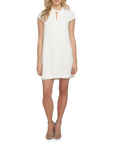 Cynthia Steffe Twist Neck Shift Dress-IVORY-4