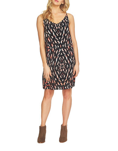 1 State Printed Shift Dress-BLACK-Small