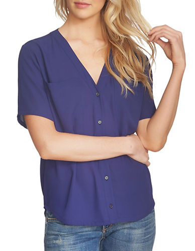 1 State V-Neck Blouse-BLUE-Medium