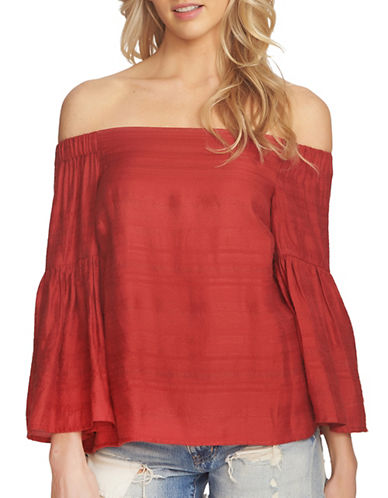 1 State Off-Shoulder Bell Sleeve Blouse-RED-Medium