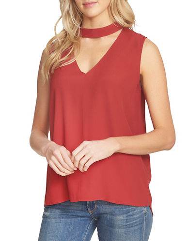 1 State Sleeveless Choker-Neck Blouse-RED-Large