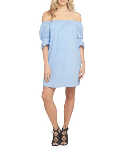 1 State Off-Shoulder Smocked Sleeve Shift Dress-BLUE-Small