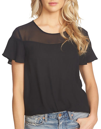 1 State Ruffle Sleeve Sheer Yoke Blouse-BLACK-Small