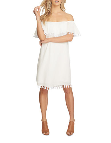 1 State Ruffle Top Dress with Tassels-WHITE-Small
