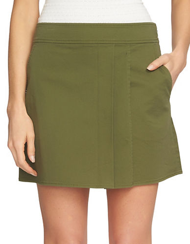 1 State Wrap Front Mini Skirt-GREEN-12