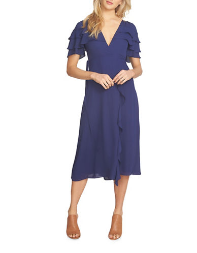 1 State Wrap Front Tiered Ruffle Maxi Dress-BLUE-X-Large