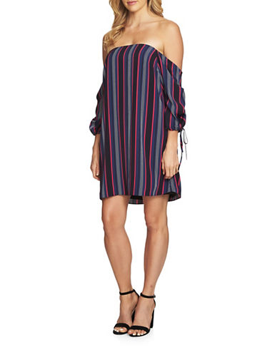 Cynthia Steffe Mia Off the Shoulder Striped Shift Dress-BLUE-2