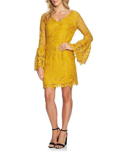 Cynthia Steffe Briella Bell Sleeve Lace Dress-GOLD-6