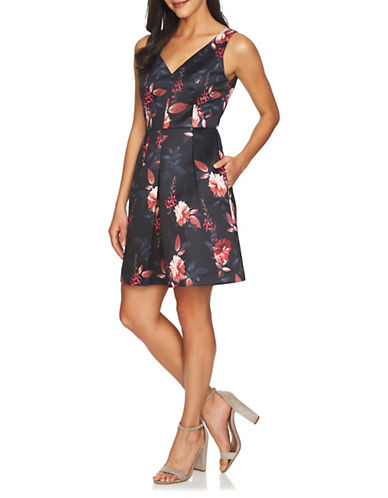 Cynthia Steffe Floral Fit-and-Flare Dress-BLACK MULTI-2