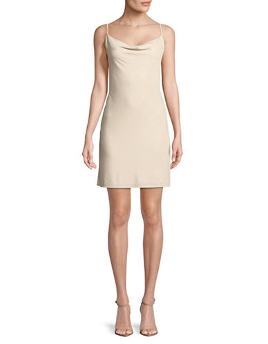 Cynthia Steffe Hazel Foil Crinkle Sheath Dress-BEIGE-12