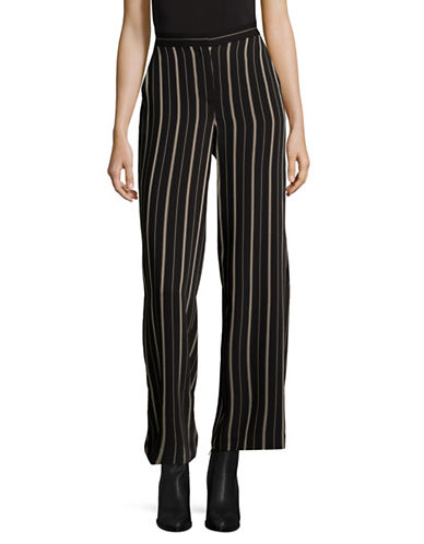 Vince Camuto Wide Leg Striped Trousers-BLACK-10