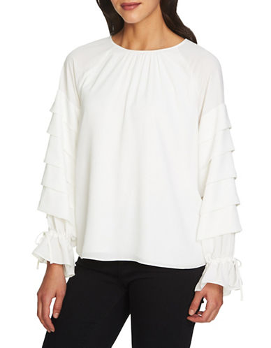 1 State Tiered Sleeve Blouse-WHITE-X-Large