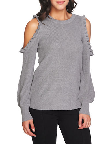 1 State Ruffle Cold Shoulder Sweater-GREY-Small