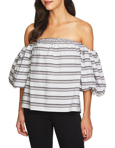 1 State Off-the-Shoulder Puff Sleeve Top-WHITE MULTI-Medium