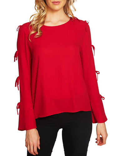 Cece Round Neck Crepe Blouse-RED-Medium