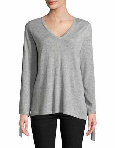 Vince Camuto V-Neck Lace-Up Sleeve Sweater-GREY-X-Small