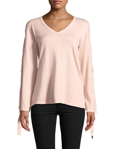 Vince Camuto V-Neck Lace-Up Sleeve Sweater-PINK-Small