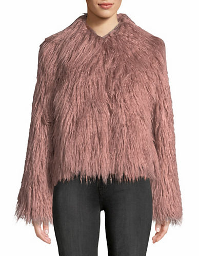 Vince Camuto Faux Fur Collared Cropped Jacket-PINK-Medium