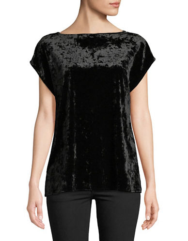 Vince Camuto Extend Shoulder Velvet Top-BLACK-Medium