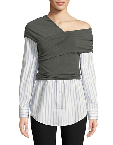 Vince Camuto Wrap Front Asymmetrical Neck Blouse-WHITE-Large
