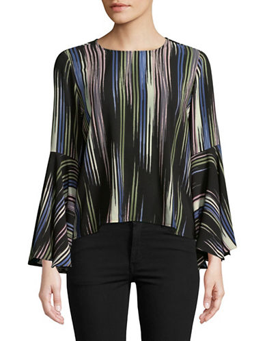 Vince Camuto Multicoloured Bell-Sleeve Blouse-BLACK-Small