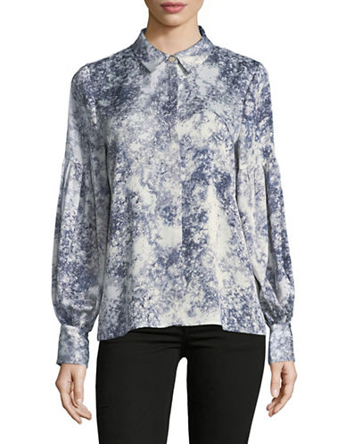 Vince Camuto Speckled Long-Sleeve Button-Down Shirt-GREY-Large