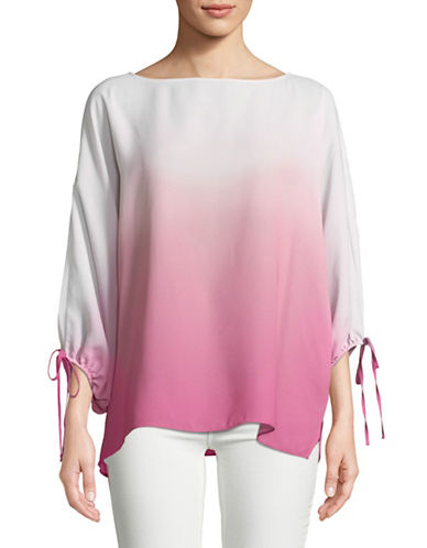 Vince Camuto Ombre Bubble-Sleeve Blouse-MAGENTA-Medium