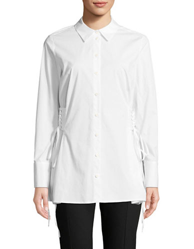 Vince Camuto Side Lace-Up Long-Sleeve Button-Down Shirt-WHITE-Large