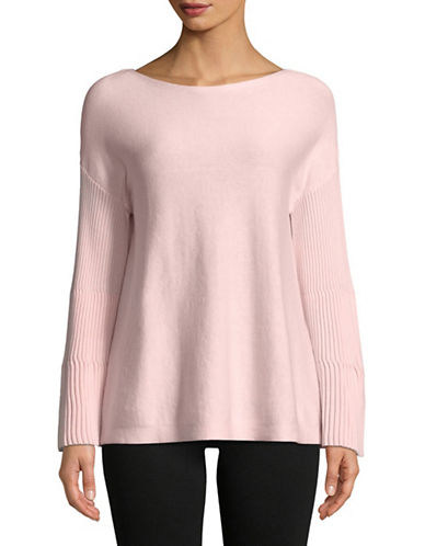 Vince Camuto Ribbed Bell-Sleeve Sweater-PINK-Large