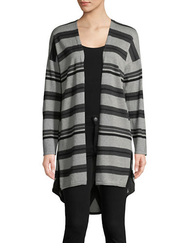 Vince Camuto Striped Open-Front Cardigan-GREY-X-Small