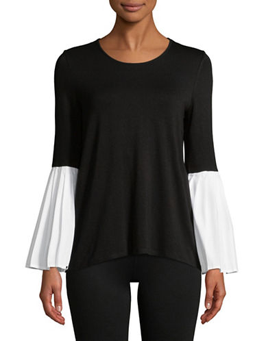 Vince Camuto Bell-Sleeve Mix Media Top-BLACK-Small