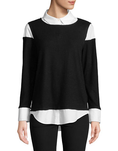 Vince Camuto Mix Media Long-Sleeve Top-BLACK-X-Large