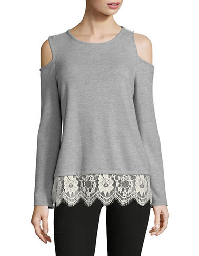 Vince Camuto Cold-Shoulder Long-Sleeve Top-GREY-X-Small