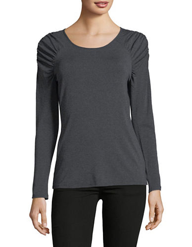 Vince Camuto Ruched Shoulder Long-Sleeve Top-HEATHER GREY-Large
