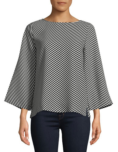 Vince Camuto Striped Bell-Sleeve Top-BLACK-Large