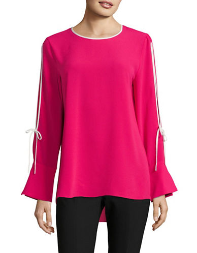 Vince Camuto Split Bell-Sleeve Top-FUCHSIA-X-Large