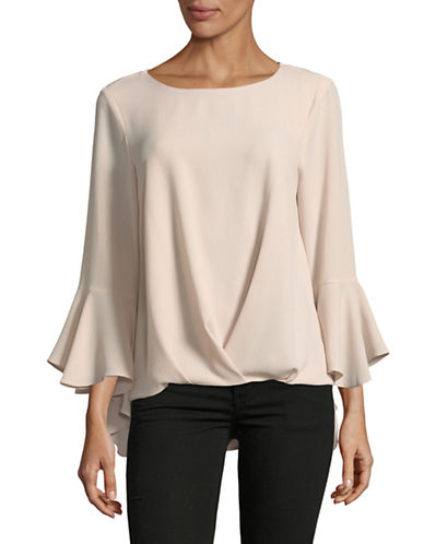 Vince Camuto Foldover Bell Sleeve Top-PINK-Large