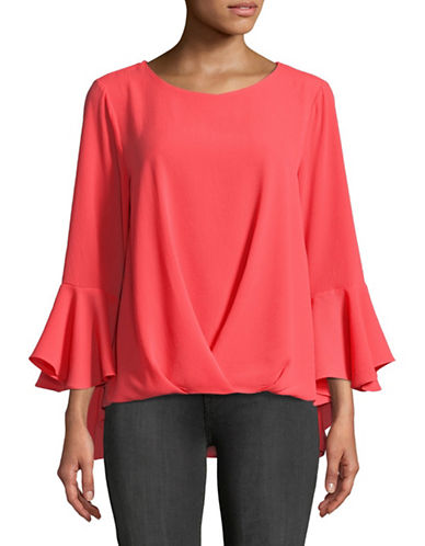 Vince Camuto Foldover Bell Sleeve Top-RED-X-Small