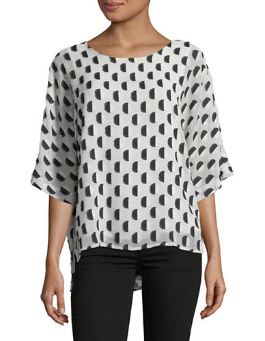 Vince Camuto Two-Tone Dot Clip Top-WHITE-X-Large