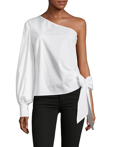 Vince Camuto Bow One-Shoulder Top-WHITE-Large