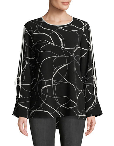 Vince Camuto Ink Swirl Flutter Top-BLACK-Small