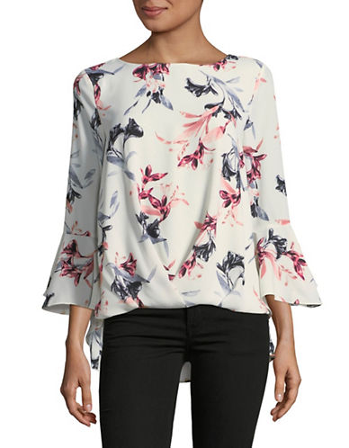 Vince Camuto Lily Melody Bell-Sleeve Foldover Top-WHITE-Medium
