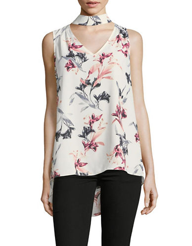 Vince Camuto Lily Melody Sleeveless Choker Top-WHITE-X-Large