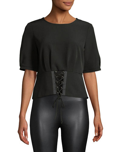 Vince Camuto Corset Round Neck Top-BLACK-X-Large