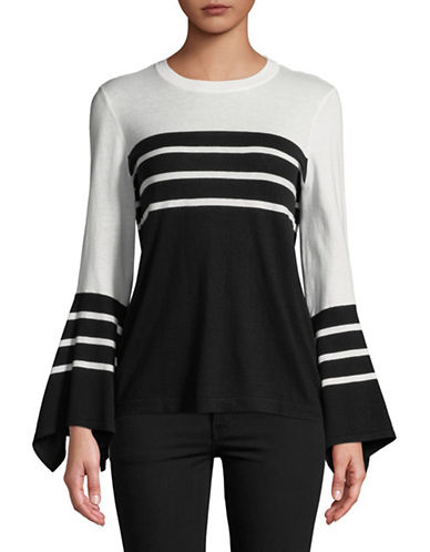Vince Camuto Striped Handkerchief-Sleeve Sweater-BLACK-Large