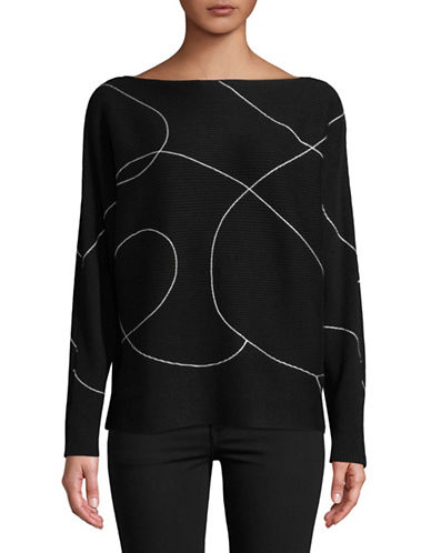 Vince Camuto Ink Swirl Dolman-Sleeve Sweater-BLACK-X-Large